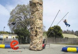 Climbing Wall with Bungee Trampoline Combo